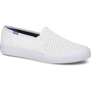 NWOT Keds Double Decker Perf Leather White Size 6